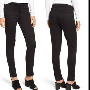 Eileen Fisher Black Skinny Ankle Zipper Moto Jeans